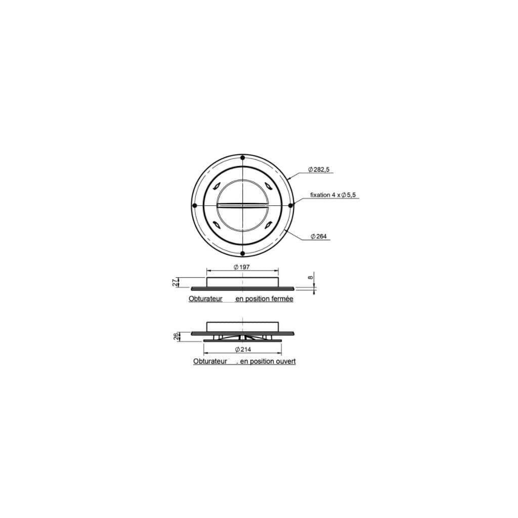 Aérateur de toit électrique plat dimensions
