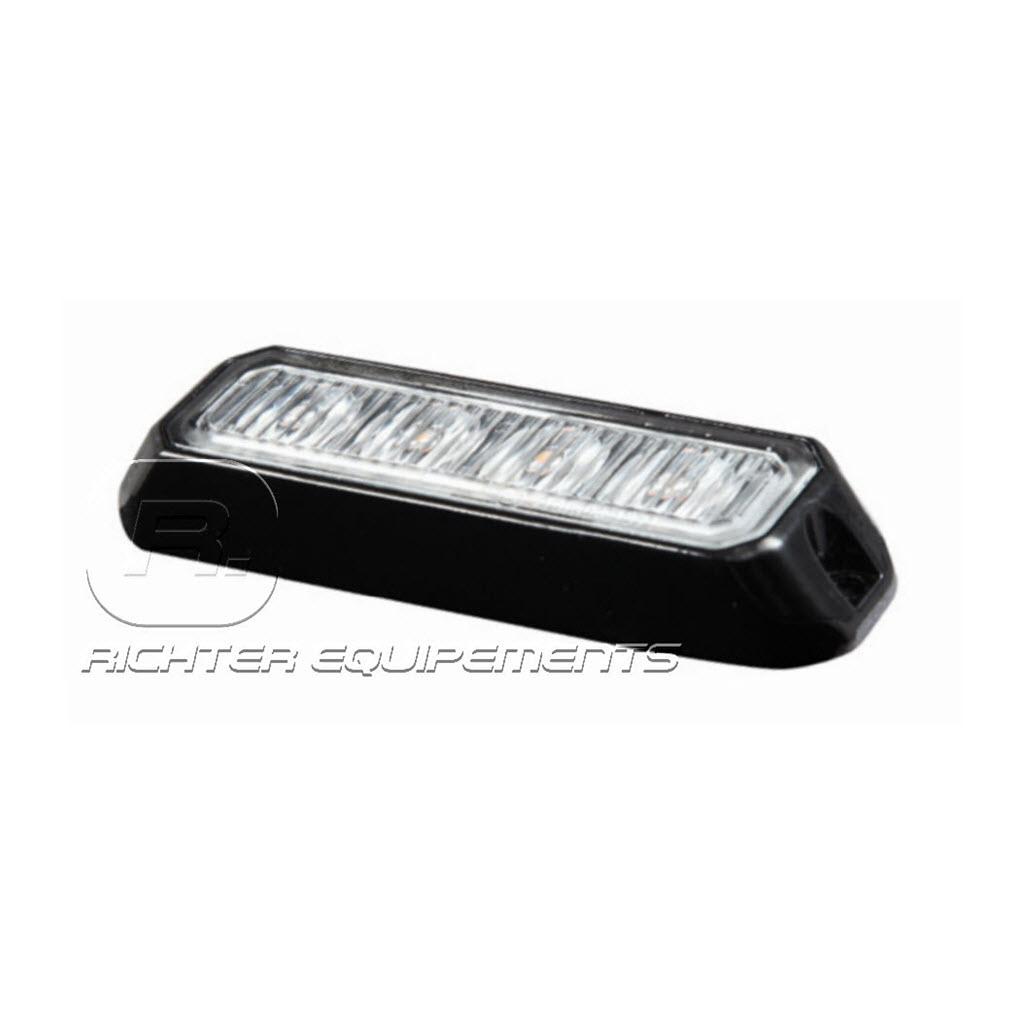 Feu de pénétration Orange slim 4 LED R65 12 à 24V vue latérale