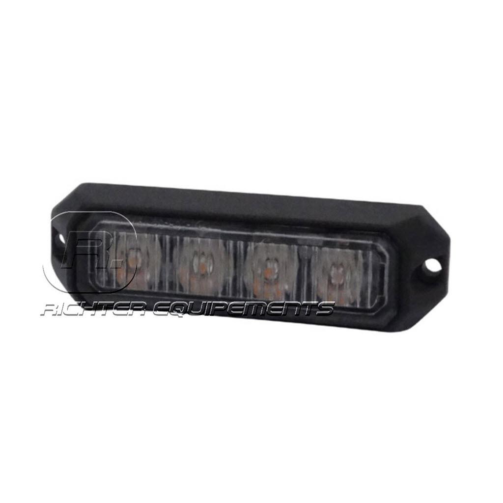 Feu de pénétration Orange slim 4 LED R65 12 à 24V