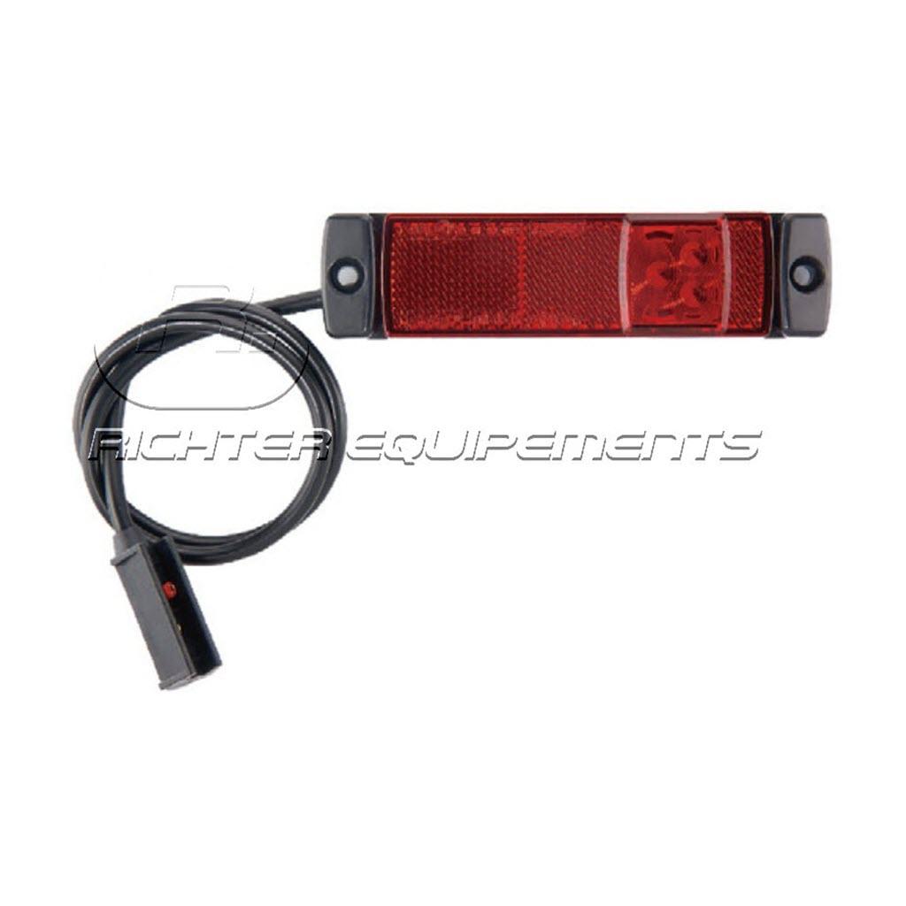 Feux de gabarit rectangle à plaquer rouge avec cable de 1.5 mètre