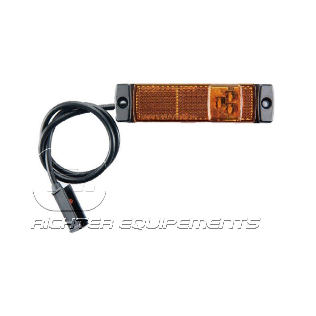 Feux de position LED rectangle à plaquer avec cable de connexion