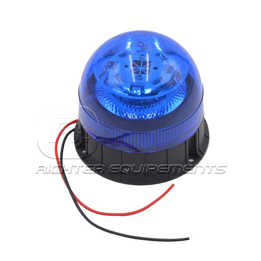 Gyrophare LED bleu 12-24 volt avec fils d'alimentation electrique vue du dessus