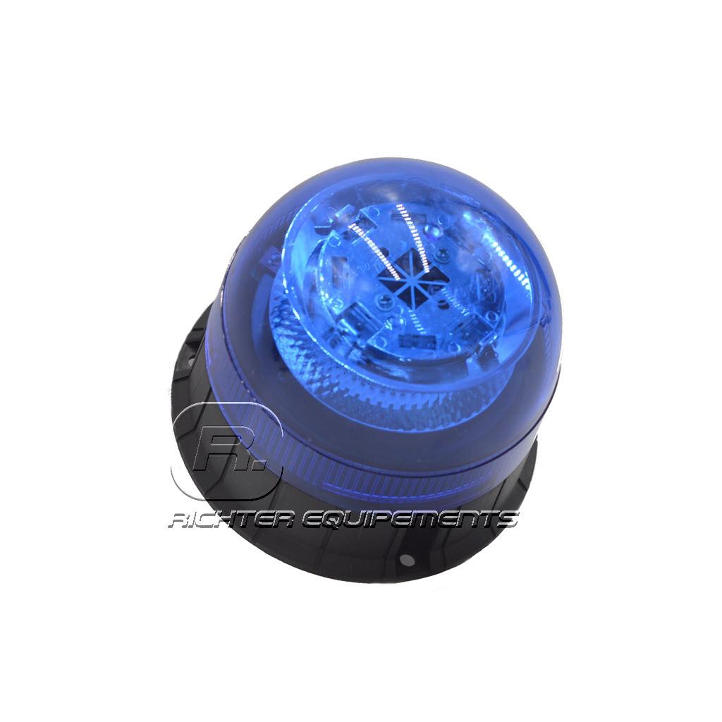 Gyrophare LED bleu 12-24 volt vue de coté