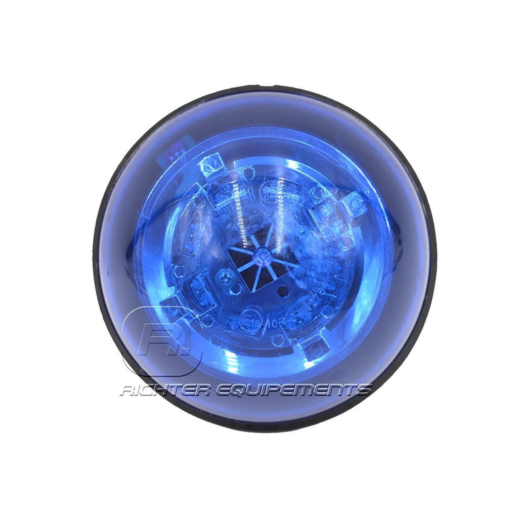 Gyrophare LED bleu 12-24 volt vue du dessus