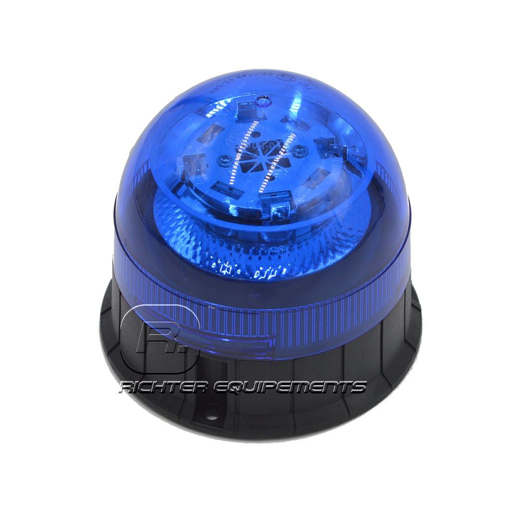 Gyrophare LED bleu 12-24 volt vue latérale