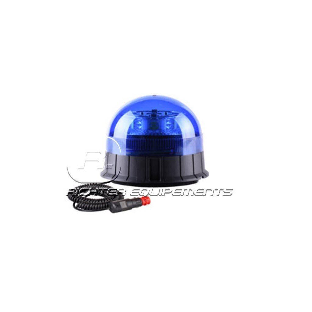 Gyrophare LED magnétique bleu avec connexion allume cigare
