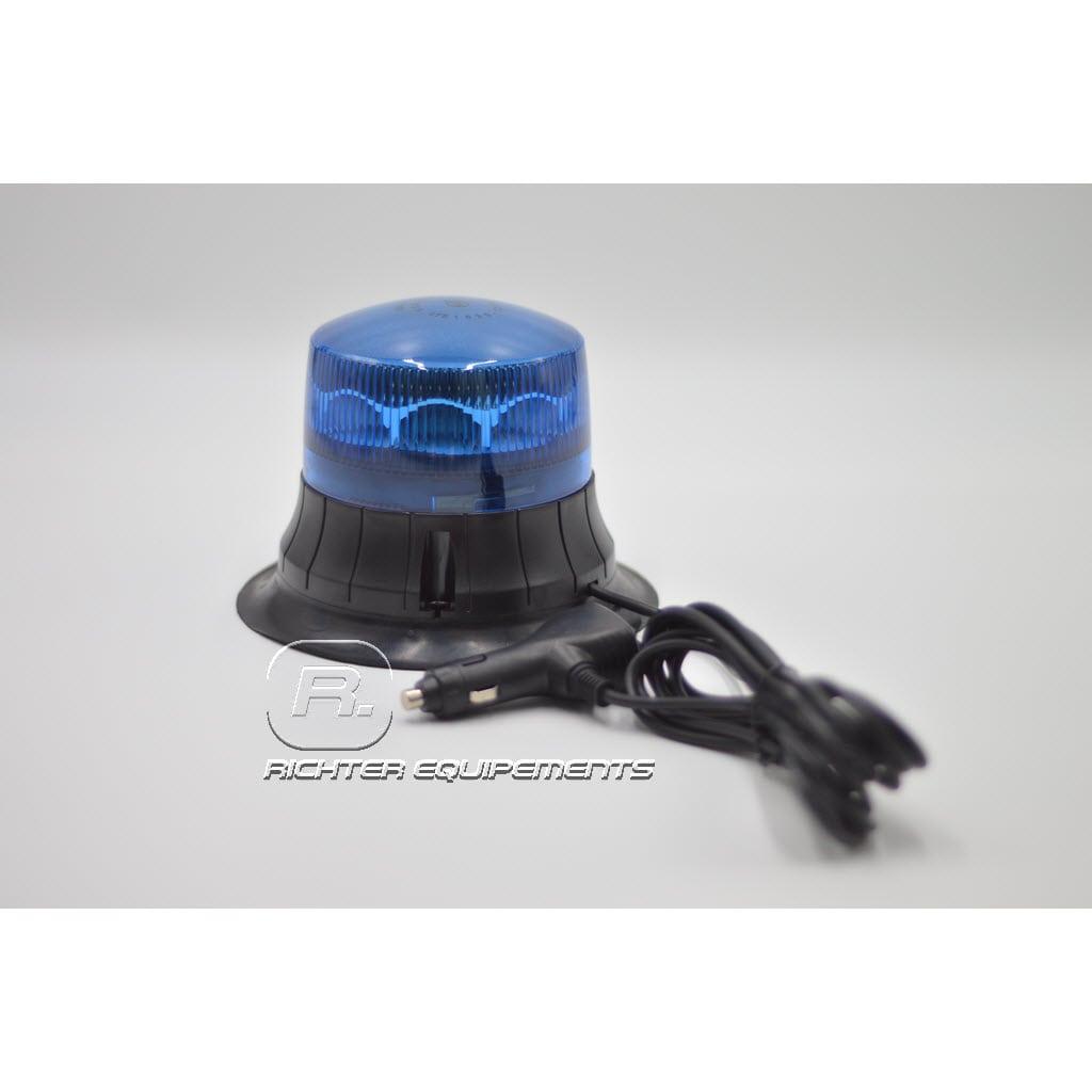 Gyrophare led rotatif bleu connexion allume-cigare vue frontale